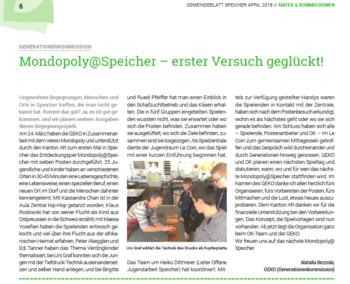 Gemeindeblatt Artikel Speicher